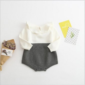 Baby Infant jumpsuits Ruffles Girl Sweet Knitted Overalls Infant Rompers - intl Price Philippines