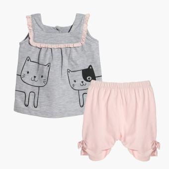 Harga Hush Hush Girls Cat Friends Top and Capri Set (Gray)