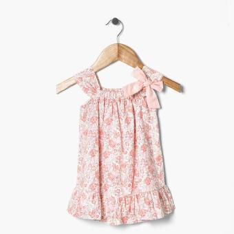 Crib Couture Girls Floral Ruffle Hem Dress (Peach) Price Philippines