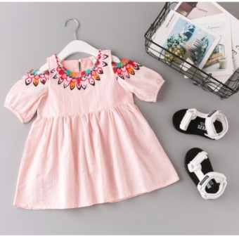 Harga Semi Off Shoulder Cut Out Peek A Boo Puff Sleeves Baby Girls Kids Dress Boho Tribal Cute Style Pink Pleated Flare