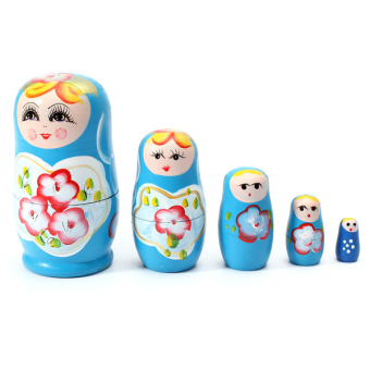 1 Set 5pcs Matryoshka Russian Nesting Dolls Toy Wooden Doll Girl Children's Toy Blue - Intl Price Philippines