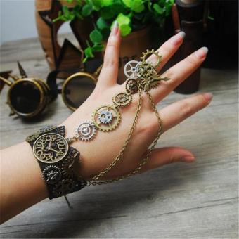 Harga (Hand Made) Steampunk Gear Clock Pattern Bracelet Finger Ring Punk Vintage Hand Chain - intl