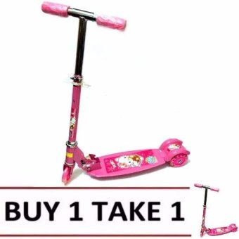Harga Quality Ride-On Push Scooter for Kids with Laser Wheel (Pink) Buy1 Take1