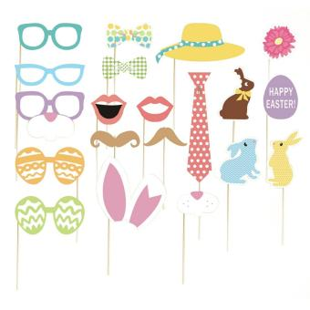 Harga 20pcs Easter Photo Booth Props Kit Photobooth Prop Card Funny Mustache Hats Eyeglasses for Easter Valentine Wedding Birthday - intl