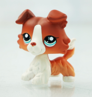 Harga 2'' Brown White Collie Dog Puppy Littlest Pet Shop LPS 1542 Blue Eyes Kids Toys - Intl
