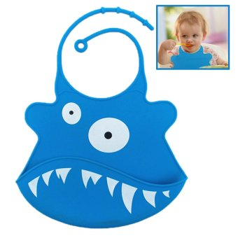 Harga Cartoon Waterproof Food Grade Silicone Baby Bib Apron Blue