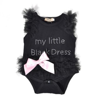 Harga Newborn Baby Girls Bodysuits Fashion Embroidered Lace My Little Black Dress Letter infant Baby Bodysuit - intl