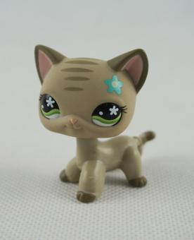 Harga 2 Inch Littlest Pet Shop LPS Grey Tabby Short Hair Cat Green Flower Eyes #483 Girl Toys - intl