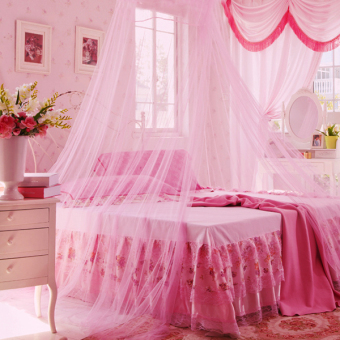 Harga New Round Lace Curtain Dome Bed Canopy Netting Princess Mosquito Net White-pink (Intl) - Intl