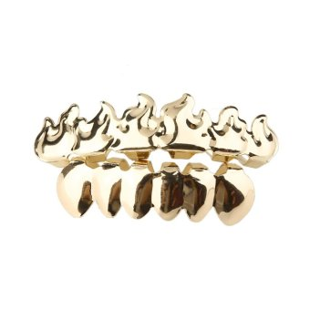 Harga Gift Grillz Set Hip Hop Grills Top Bottom Bling Mouth Teeth Caps Hip Hop Grillz Gold - intl