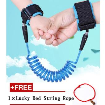 Harga Baby Child Anti Lost Safety Hook and Loop Fastener Wrist Link Rope Band Leash Belt for 1-12 Years Old Kids-Blue - intl