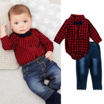 Infant Baby Boys Red Plaid Long Sleeve Romper Tops+Jeans Pants Clothing Sets Outfits for 0-24M - intl - 2