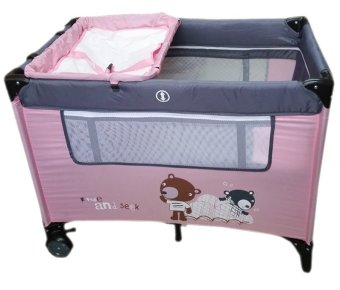Irdy Portable Space Saver Crib Playpen (pink)