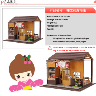 Japanese Sushi Bar DIY Doll House Wooden - Intl - 2