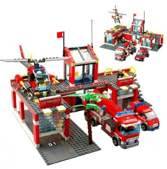 Kazi 774pcs/set City Fire Station Truck Helicopter FirefighterMinifigure Building Blocks Bricks Toys Lego Compatible