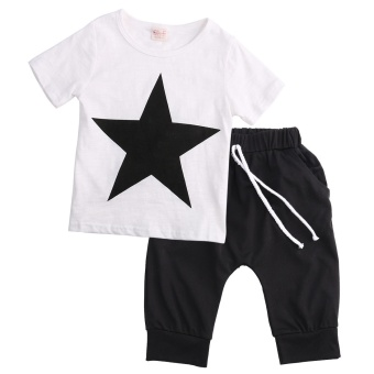 Kids Baby Boys Star T-shirt Tops Harem Pants Trousers Outfits Set Clothes - 2
