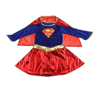 Kids Child Girls Costume Fancy Dress Superhero Supergirl Comic Book Party Outfit - Intl - 4