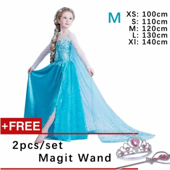 Kids Cosplay Castillo Elsa Dress Custom Made Movie Princess girls Frozen Costumes ( M : 120 cm Height )