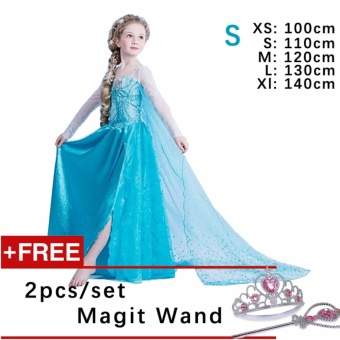 Kids Cosplay Castillo Elsa Dress Custom Made Movie Princess girls Frozen Costumes ( S : 110 cm Height )