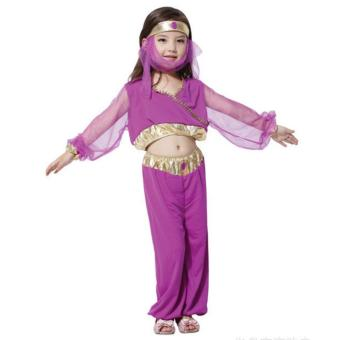 Kids Costume Halloween Christmas Costume Princess Jasmine Gypsy Costume India Belly Dancing Costume Birthday Children Cosplay Party Photography Outfit 5-6 Yrs