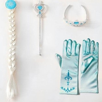 Kids Girl Princess 4Pcs/set Elsa Anna Cosplay Frozen Gloves Dress Costume - intl