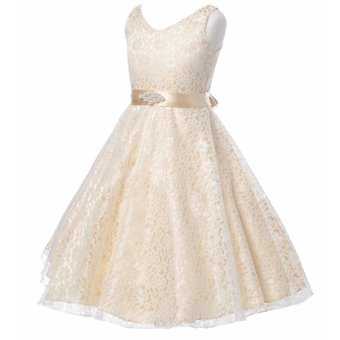 Kids Girls Lace Sleeveless Elegant Princess Birthday Party Dress -intl - 3