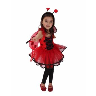 Kids Halloween Costume Princess Tutu Dresss Red Birthday Christmas Costume Lady Bug Costume Children Cosplay Photography 4-5Yrs