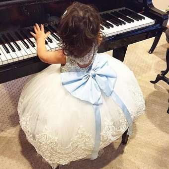 kids Sleeveless Summer Princess Baby Girls Clothes Infant PartyDress Birthday Frock Newborn Toddler Girl Gown Bowknot Lace - intl - 3