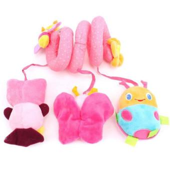 LALANG Baby Pram Bumper Pink Beetle Musical Toy