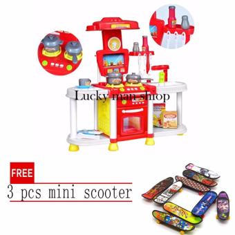 lazada and USA best selling Big size Kids Children Babies Kitchen Cooking Toy Play Set with Light and Sound Educational Learning Toy Red with free 3 pcs mini scooter Price Philippines