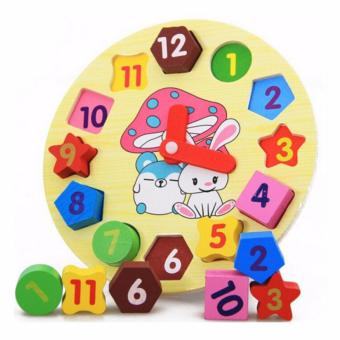 lazada and USA best selling Wooden Rabbit Clock with GeometricShapes Puzzle - 2