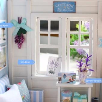 LED Light DIY Miniature Dollhouse Blue Sofa - 2