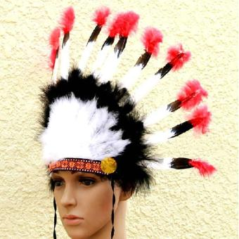 leegoal Indian Feathers Headdress Native American Chief Head DressFor Adult And Kids Halloween Costumes Party, Black+White+Red23x14inch - intl - 2