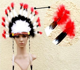 leegoal Indian Feathers Headdress Native American Chief Head DressFor Adult And Kids Halloween Costumes Party, Black+White+Red23x14inch - intl Price Philippines