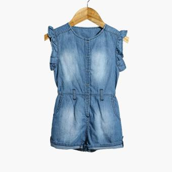 Little Miss Baby Girls Frill Sleeves Chambray Romper (Blue) Price Philippines