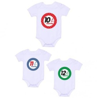 LMC Anchor Monthly Onesies, Pack of 3 (White) - picture 2