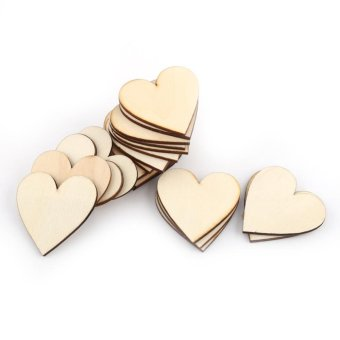 Love Heart Shape Wooden Embellishment for Weddings Plaques Craft(50mm 25pcs) - intl