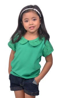 Love My Clothes Peter Pan Collared Kids Blouse (Green)