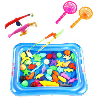 Lucky man Baby Kid Toy Magnetic Fishing Two Rods with pool