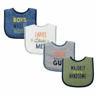 Luvable Friends 4 Piece Drooler Bib Majorly Handsome