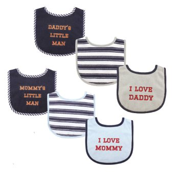Luvable Friends Baby Boys Bib 3-Pack, Boy Mommy, Daddy Price Philippines