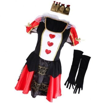 MagiDeal Queen of Hearts Costume Alice Fairytale Halloween Party Fancy Dress - intl