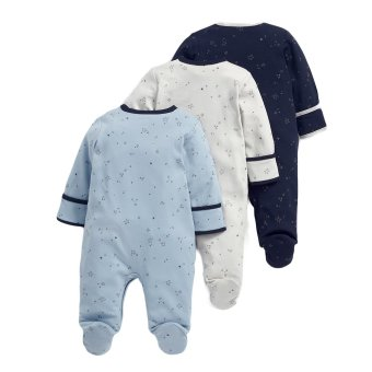 Mamas and Papas Star Blue Bodysuit Set of 3 (White/Blue) - 2