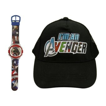 Marvel Captain America Kid's Graphic Watch with Avengers Kid's Baseball Cap