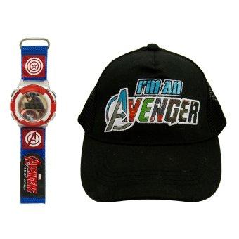 Marvel Captain America's Kid's Velcro Watch with Avengers Kid's Baseball Cap