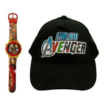 Marvel Iron Man Kid's Graphic Watch with Avengers Kid's Baseball Cap