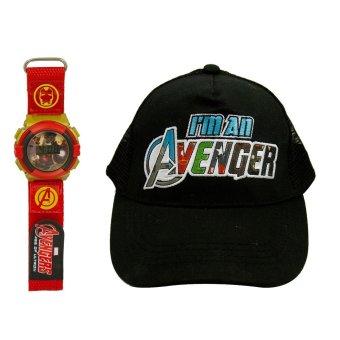 Marvel Iron Man's Kid's Velcro Watch with Avengers Kid's Baseball Cap