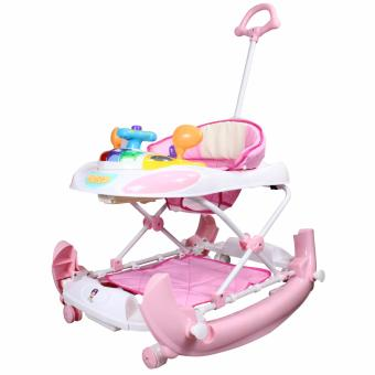 Mini Car Look Design Light Music Baby Walker with Handle Rocker213BR (Pink)