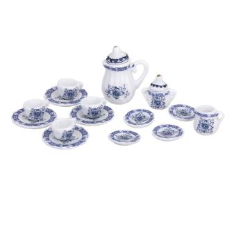 Miniature 15pcs Dining Ware Porcelain Tea Set Dish Cup Plate Blue