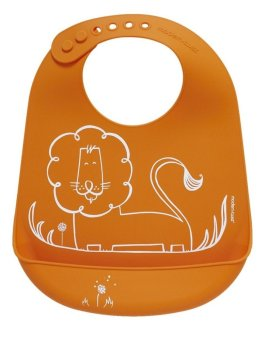 Modern Twist Dandy Lion Silicone Bib (Orange)